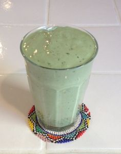 """Kiwi Coconut Kale Smoothie """"I usually have a smoothie with protein powder, lots of good fats, chia seeds and some fruit.  Here is the recipe from this morning's smoothie:  Kiwi Coconut Kale Smoothie 10 ounces coconut milk 2 kiwis Juice of 1 lime 1/4 avocado"""
