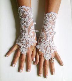 Spitze Handschuh frei Schiff Silber Hochzeit Abschlussball Partei Brautjungfer besonderen Anlass Geschenk Gothic Hochzeit französischer Spitzen Handschuhe Braut Manschette Spitze