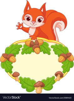 Illustration about Cute squirrel with frame decorated with mushrooms and acorns. Illustration of greeting, isolated, yellow - 48303240