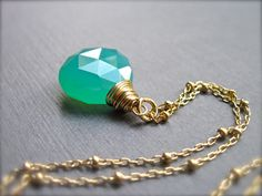 Green Chalcedony Necklace with 14K Gold Filled Satellite Chain, Handmade Green Gemstone Necklace