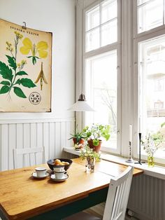 A vintage botanical print adds character to a dining nook.