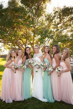 Pretty pastel gowns: http://www.stylemepretty.com/2015/04/08/romantic-fall-kennebunkport-wedding/   Photography: Stephanie A Smith - stephanieasmithblog.com