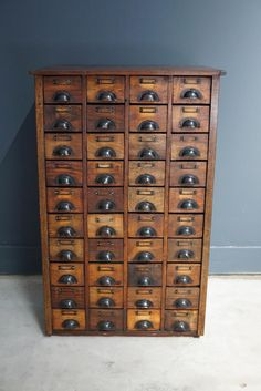 Vintage French Pine Apothecary Cabinet with Brass Hardware, 1930s 9