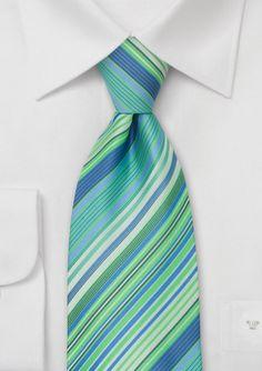 Modern Striped Tie in Turquoise, Aqua, Teal @ Bows N' Ties- $14.90