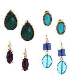 Look at this #zulilyfind! Gold & Blue Stone Earrings Set by Sparkling Sage #zulilyfinds