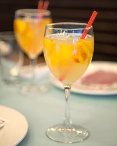 Glasses of white peach sangria added a pop of color to the tablescape.