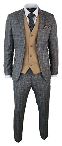 Mens-Grey-Check-Herringbone-Tweed-Vintage-3-Piece-Tailored-Fit-Suit-Oak-Brown