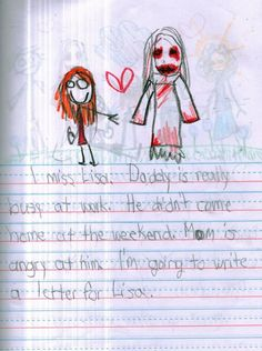 scary story writing This Kid Wrote A Horror Story That Is Legitimately Bone-Chilling Scary Stories, Horror Stories, Creepy Kids Drawings, Drawing For Kids, Art For Kids, Kids Writing, Lisa, Mom, Fictional Characters