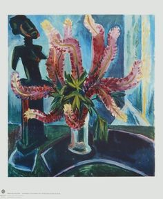 max pechstein paintings   Still Life - Lupines with African Figure by Max Pechstein Framed Artwork, Framed Prints, Wall Art, Schmidt, Expressionist Artists, Expressionism, Lupine Flowers, Art Premier, Post Impressionism