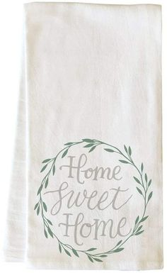Gracie Oaks Home Sweet Home Wreath Hand Towel - Trending Hand Towels for sales. Silouette Cameo Projects, Green Tea Towels, Hallmark Homes, Decorative Hand Towels, Kitchen Hand Towels, Hand Towel Sets, Kitchen Decor, Sweet Home, Rolling Pins