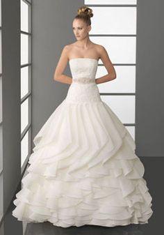 fashion ball gown Organza Beaded white Wedding Dress