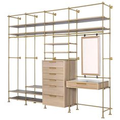 For Sale on - Four bays of Amuneal's collector's shelving system is used to create this modular wardrobe unit with silvered oak shelves, dresser, vanity table and mirror. Open Wardrobe, Mirrored Wardrobe, Diy Wardrobe, Oak Shelves, Shelving, Mirror Shelves, Modular Wardrobes, Closet Designs, Closet Bedroom
