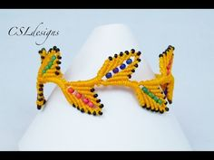 Beaded macrame leaf bracelet - YouTube