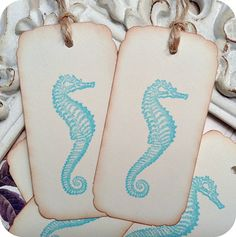 Beach Cottage Seahorse Tags - Cottage Chic - Set of 10 - Any Color - Price Tags - Wedding - Shower
