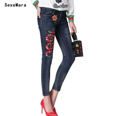 Women Snake Embroidery Pencil Denim Jeans Woman 2017 Spring Fashion Skinny High Waist Jeans for Women