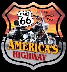 Click for more colors of Motorcycle Route 66 Sign Route 66 Signs