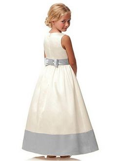 bb96e3885f Magbridal Fabulous Satin Jewel Neckline Ankle-length A-line Flower Girl  Dress