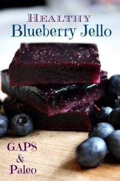GAPS & Paleo Blueberry Jello made with real fruit - Health, Home, & Happiness Paleo Dessert, Healthy Sweets, Dessert Recipes, Homemade Jello, Gelatin Recipes, Blueberry Jello Recipes, Blueberry Jelly, Agar Agar, Jello Desserts
