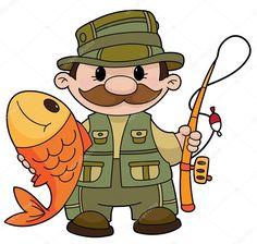 Výsledek obrázku pro kreslená rybář