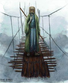 "Watercolor illustration made for the Swiss japanesque RPG ""Wayfarer, Ken to Shin"", Watercolor Illustration, Statue Of Liberty, Wayfarer, Concept Art, Creatures, World, Artist, Painting, Rpg"