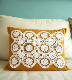 Handmade Linen and Doily Pillow by brandeye on Etsy, $32.00