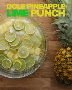 Pineapple Lime Punch Servings:  4-6  INGREDIENTS 2 cups fresh pineapple chunks 6 ounces Dole pineapple juice 4 lime popsicles  6 ounces white rum 1 bottle champagne or sparkling white wine  Lime slices  PREPARATION 	1.	Slice the limes and set aside.� 	2.	Dice the popsicles into chunks.  � 	3.	Add lime slices, pineapple chunks, and popsicle pieces to a punchbowl.� 	4.	Add 6 ounces pineapple juice, 6 ounces rum, and 12 ounces (about ½ bottle) champagne.� 	5.	Enjoy!