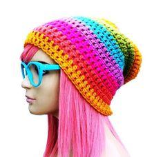 gorros femininos beanie feito em croche colorido