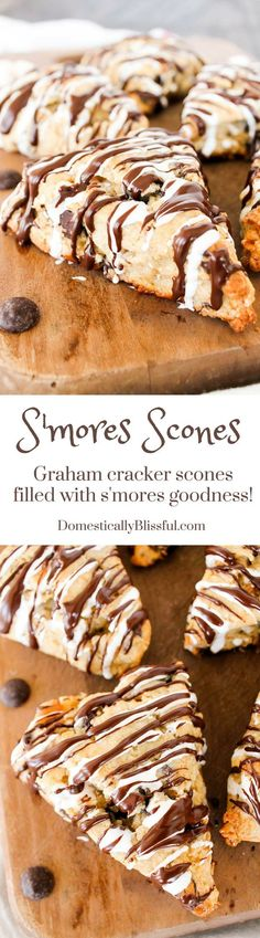 S'mores Scones These aren't your average S'mores Scones! These are graham cracker scones are filled with melty chocolate & pockets of sweet marshmallows & topped with a drizzle of chocolate & marshmallow icing! Mini Desserts, Just Desserts, Delicious Desserts, Yummy Food, Healthy Food, Baking Recipes, Cookie Recipes, Dessert Recipes, Bread Recipes
