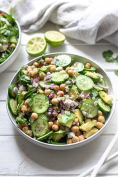 Good Carbs, Healthy Carbs, Chickpea Recipes, Vegetarian Recipes, Fruits And Vegetables, Veggies, Easy Cucumber Salad, A Food, Food And Drink