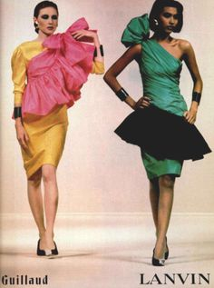Lanvin S/S 1984  What the heck is going on with the pink thing on the left ?! It looks like a little girl's skirt flew off and landed on her shoulder....