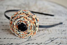 """Halloween """"BOO""""tique Style Fabric Rosette headband from Nikki, In Stitches"""