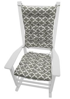 Fulton Grey porch rocker cushions featurea wildly popular geometric pattern of white quatrefoils (ogee) on a grey indoor/outdoor fabric. Made in USA of America  #Quatrefoil #Latex