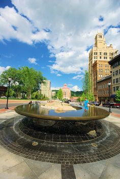 Downtown Asheville NC fountain at Pack Square: http://www.romanticasheville.com/downtown.htm