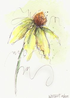 Original Watercolor Cone Flower Art Painting Yellow Pen and Ink Watercolor Hand Painted Flower by inspiringartimages on Etsy