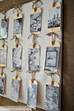 Use for name tags for reunion instead of sticky tags that always fall off tag photo gallery - sweet idea! By Home Stories A to Z Reunion Name Tags, Photo Wall, Tag Photo, Picture Tag, Mini Photo, Reunion Invitations, Gallery Wall Frames, Family Reunion Activities, Family Reunion Decorations