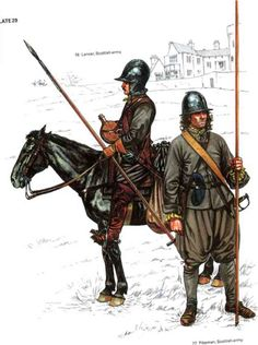 Covenanter lancer and pikeman in uniforms of hodden grey - battle of Naseby.