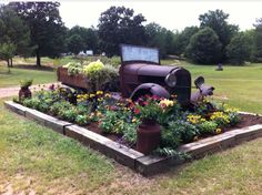 Landscaping using antique vehicles