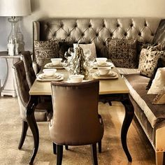 I love the banquette and the table put together! So pretty!!!