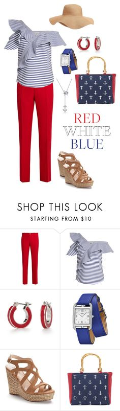 """""""red, white & blue"""" by annalynn2424 ❤ liked on Polyvore featuring Old Navy, Gucci, self-portrait, Napier, Hermès, Jennifer Lopez, Magid and BERRICLE"""