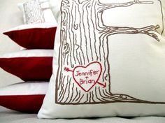 Custom heart & tree pillow