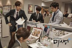 Misaeng: The cast preparing for a scene.