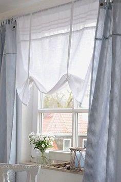 Stube - Gardinchen von oben besser und nicht so spießig? streckt das Fenster mehr, oder - Rollo Raffrollo Roll Gardine 120x90 Tilda weiß Shabby Chic Landhaus Vintage NEU