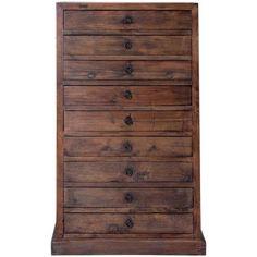Schubladen sind etwas Wunderbares. Als perfekte Ordnungshüter horten sie Kleinkram, räumen Wäsche und Accessoires weg, sortieren Bürobedarf und Küchenutensilien. Da kommt Ihnen die hohe Panama-Kommode mit ihren 9 geräumigen Schubladen natürlich sehr gelegen. Sie ist in zeitlosem Look aus rustikalem Holz gefertigt, zum Teil kommt dabei auch Hölzer zum Einsatz, die früher Bestandteil von Türen oder Schränken waren. Daher ist jede Kommode nicht nur im Hinblick auf den exakten Farbtton, sondern…