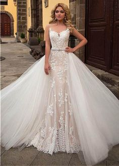 Modest Sleeveless Church Train Wedding Dress with Removable Skirt #weddingdress #lace #angrila