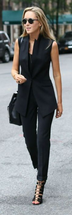 modern suit vest, slim fit suit pant, black camisole, lace up heeled sandals + lizard embossed cross body bag, sunglasses