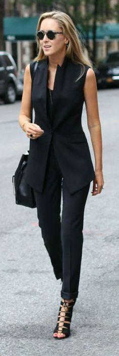 modern suit vest, slim fit suit pant, black camisole, lace up heeled sandals + lizard embossed cross body bag, sunglasses
