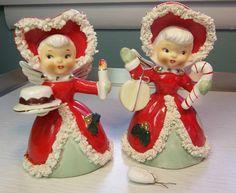 "Vintage Set of 2 Napco Christmas Spaghetti Angel Bells 1950""s | eBay"