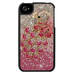 A girly pink and white diamond bling peacock bird for your iPhone 4. A cute gold plated peacock covered in white diamonds with pink and fuchsia diamond crystals for the feathers and elegant black gem for the eye. All set on a chic texture background covered in white stones, silver studs and different shades of pink sparkling bling. The perfect gift for her and the animal nature lover.
