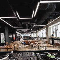 led linear in office space open ceiling Corporate Office Design, Modern Office Design, Corporate Interiors, Gym Design, Office Interiors, Gym Interior, Office Interior Design, Office Ceiling Design, Bureau Design
