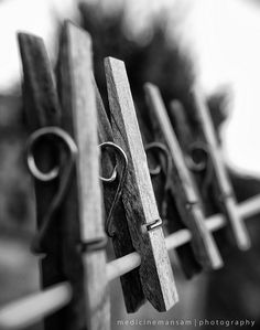 on the line.I HATED clothespins left on the line .they get dirty, get your clothes dirty, and get that old look much sooner photography Line Photography, Pattern Photography, Macro Photography, Creative Photography, Photo B, Jolie Photo, Foto Still, Depth Of Field, Black N White Images